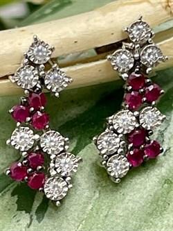 Серьги арт. OF-E11019-X-W-R-X-W, Серебро 925 пробы, Fresh Jewelry производство ГОНКОНГ (вес 1,5 г) - фото 402669