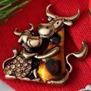 """Брошь: """"Бык с коровой"""" парочка  арт. 57416 /Бижутерный сплав/ Импортер: Мадам Брошкина."""