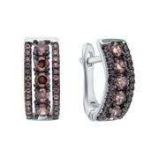 Серьги арт. CZ-E00681-X-WB-DB-X-DB, Серебро 925 пробы, Fresh Jewelry производство ГОНКОНГ (вес 3,1 г)