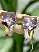 Серьги арт. CZ-E0560-X-W-Pur-X-W, Серебро 925 пробы, Fresh Jewelry производство ГОНКОНГ (вес около 1,9 г)