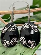 Серьги арт. FI-E04278-X-W-B-X-X-967, Серебро 925 пробы, Fresh Jewelry производство ИНДИЯ (вес 12,9 г)